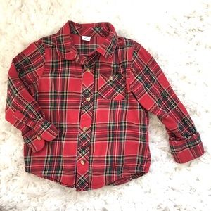 Boys  Red flannel holiday flannel button up